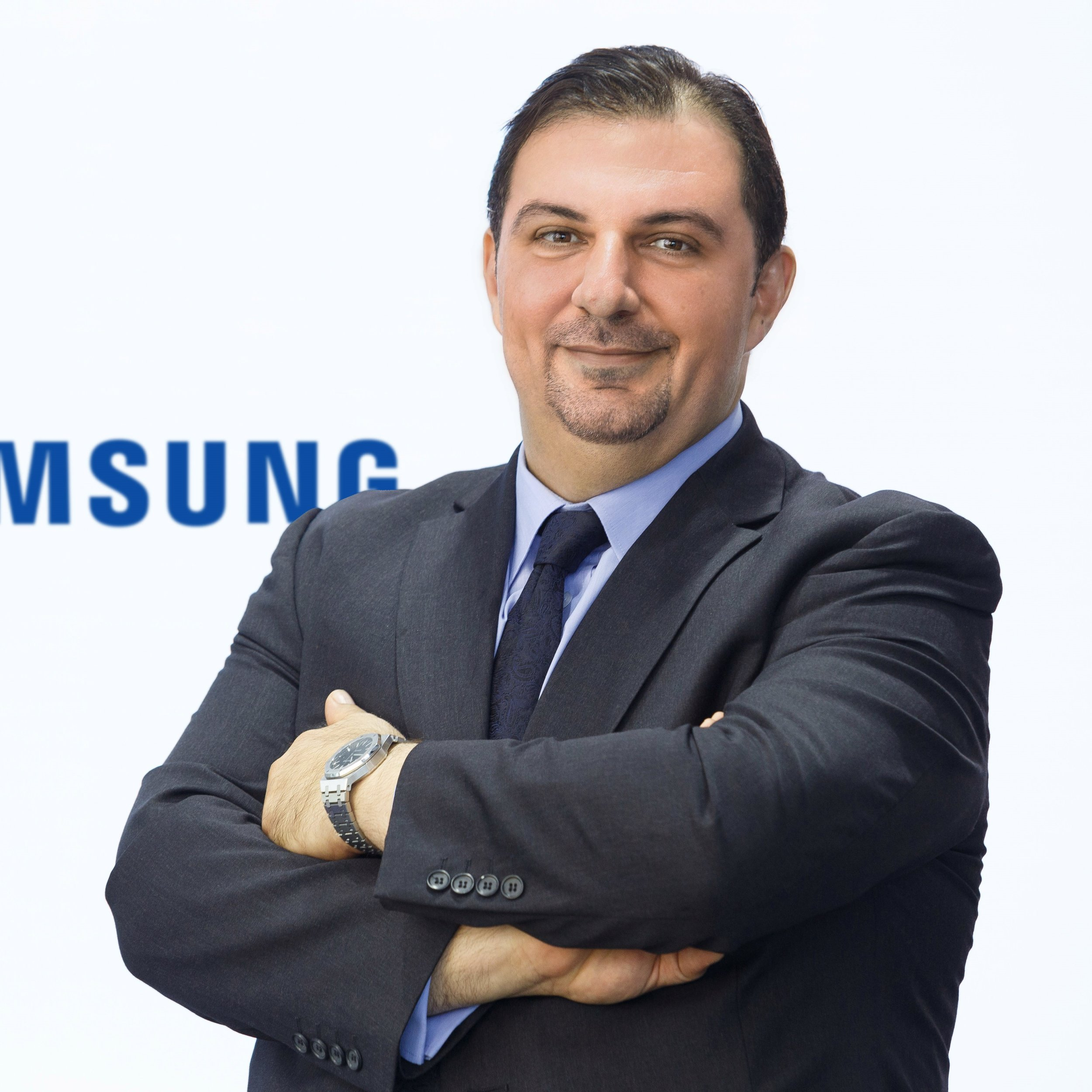 Mohammaed Ghariebeh   Director, IM Enterprise Group and Samsung Pay,  Samsung Gulf Electronics   Mohammed Gharaibeh is Head of Enterprise Business & Samsung Pay services at Samsung Gulf Electronics, where he leads a team of 53 professionals across the Gulf region. He brings to the role a distinguished career at Samsung Gulf Electronics and leading technology firms across the region. Prior to his current position he served as General Manager of the Digital Appliances and IOT Sales unit, developing new business channels and maintaining the company's long-standing partnerships with local distributors and major retailers. Prior to joining Samsung, Mohammed held several senior positions in the Gulf, including Injazat Data Systems – Mubadala Group, NexNet Solutions and Gulf Smart Solutions. It was this background in information systems and technology services that laid the groundwork for his success. Nearly two decades ago, he began his career with telecommunications giants such as du, Dubai Internet City and Juma Al Majid Group. Mohammed is a double MBA holder. He received his first Master's degree of Data Centre Design and Development followed with Management Business Administration in Executive Management from Nixon University in the United States. He graduated in Telecommunications and Computer Science from the University of Yarmouk in Jordan.