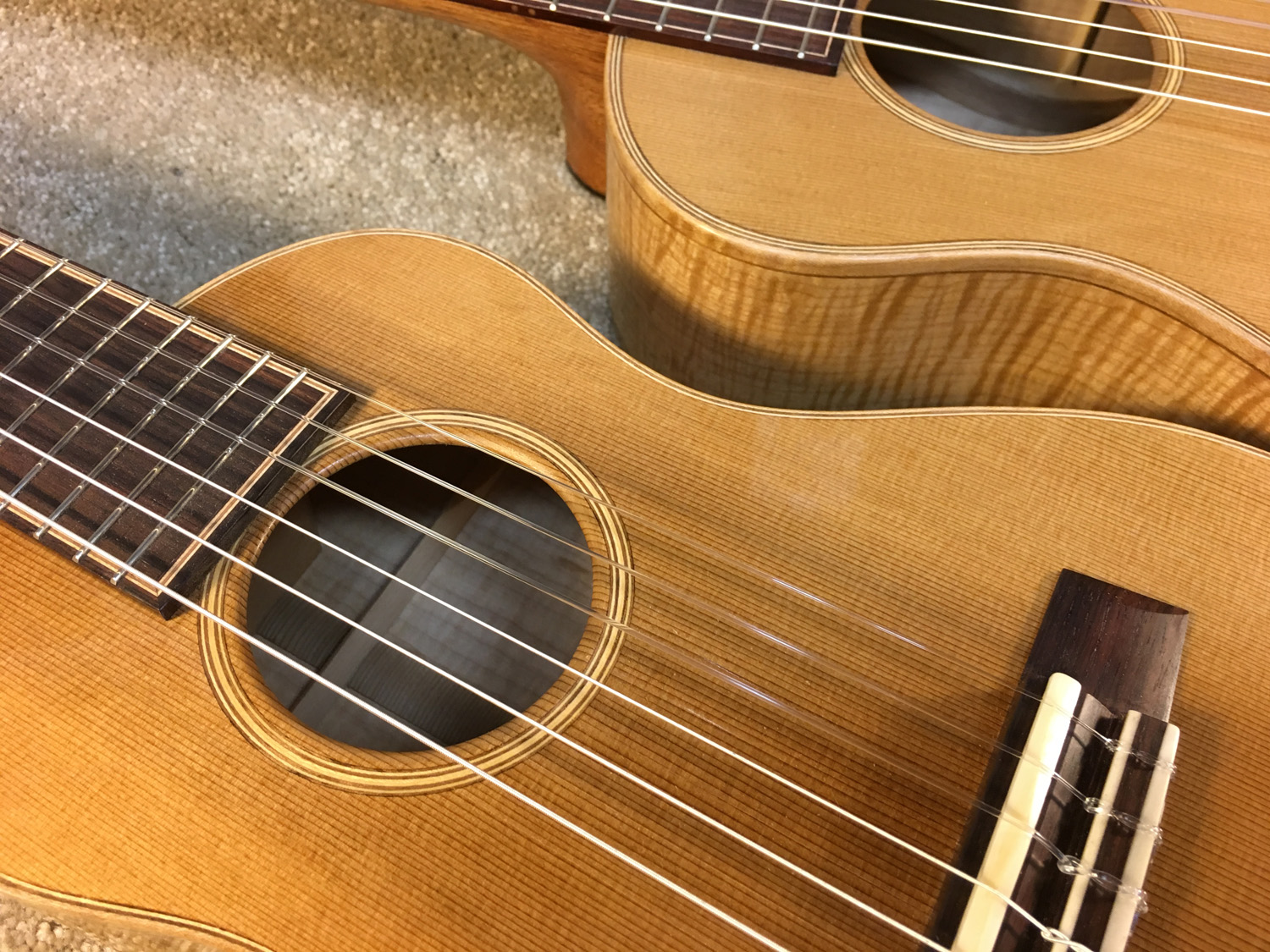 Six strings - Baritone and Tenor size bodies.