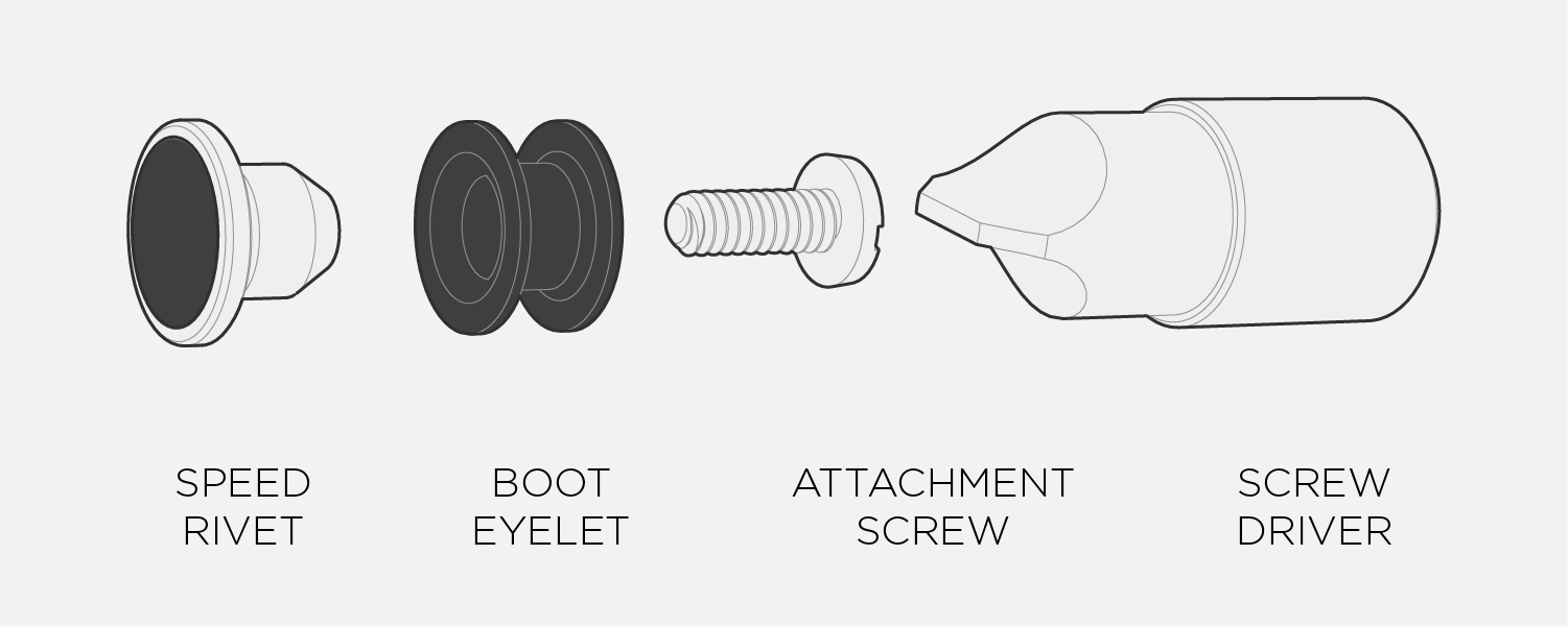 MUST Speed Rivets  come with everything you need to install. Simply thread the attachment screw through your boot's eyelet and screw tight with the supplied driver. Check them from time to time to ensure they are tight and secure.