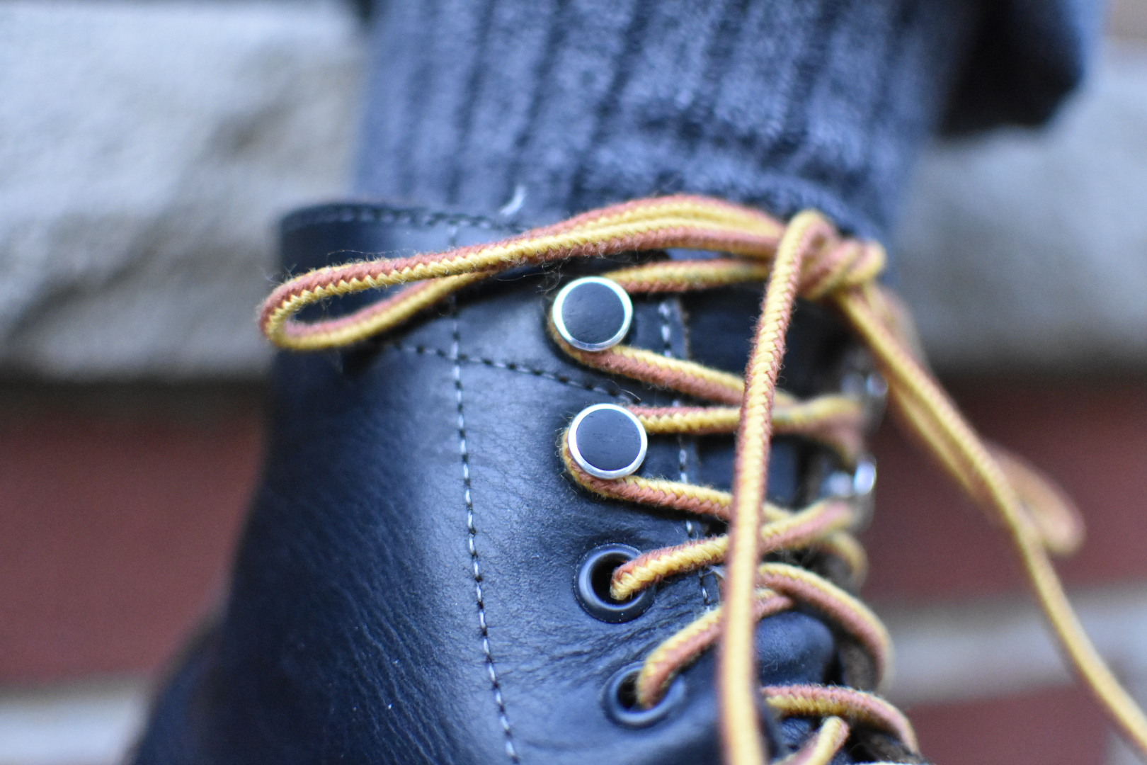 MUST Speed Rivets in Aluminum/Ebony on a pair of Oakstreet Trench Boots |  Photo by Manoa Hui