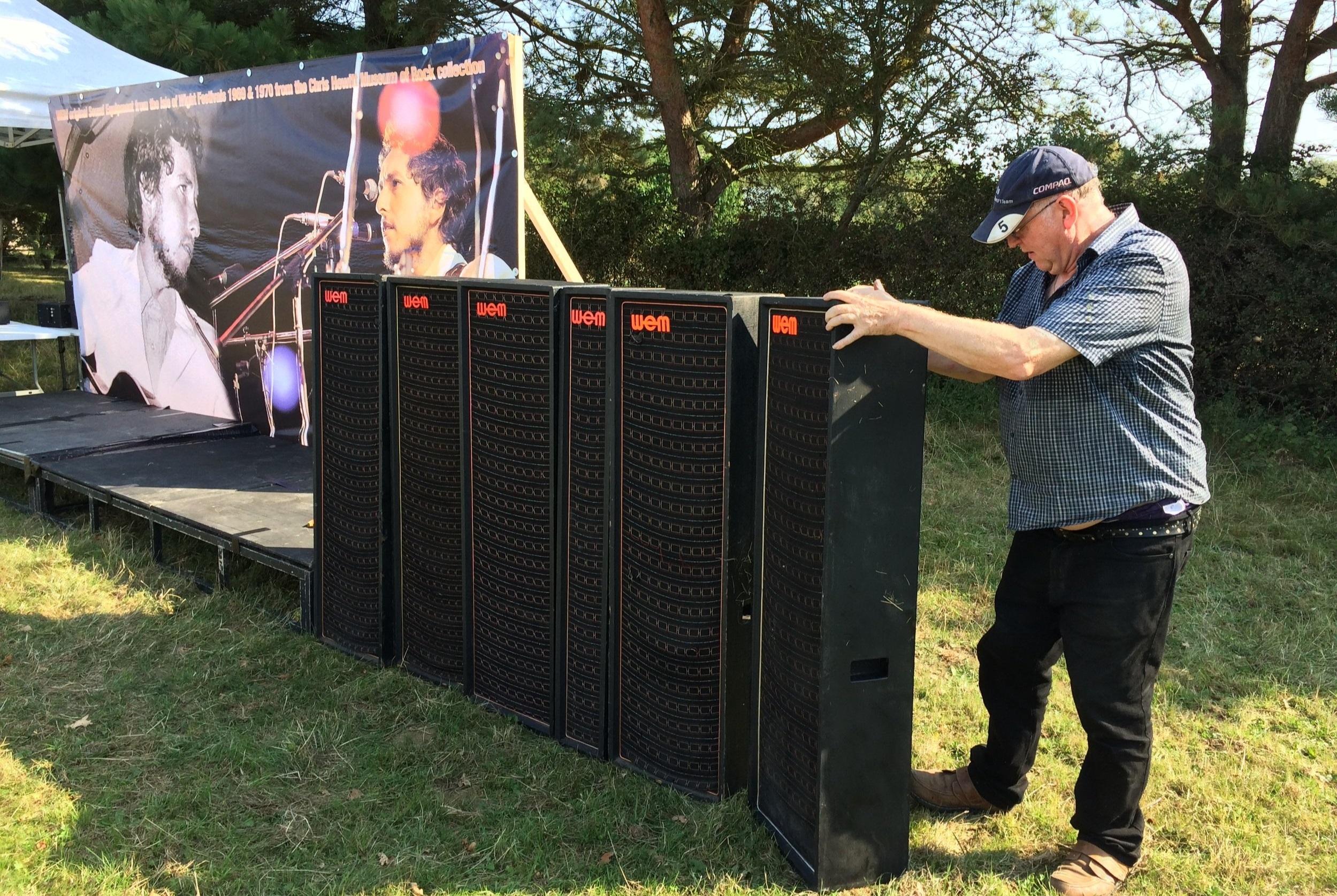 CH Vintage Audio's Chris Hewitt assembles some of his vintage IoW Festival WEM sound gear and impressive Bob Dylan backdrop.