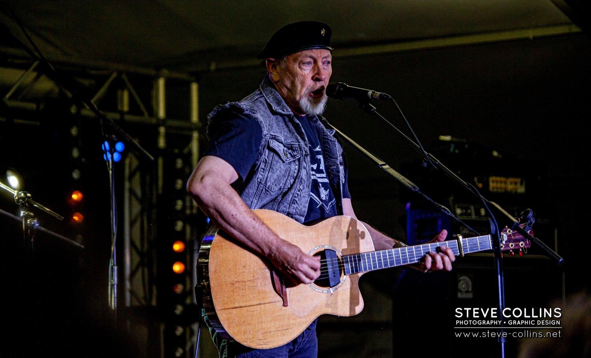 Richard Thompson, folk-rock icon, captured on stage at the Bash.