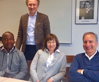 Harrison Kaingu and Professors Johan Lundin, Nina Linder and Vinod Diwan, KI