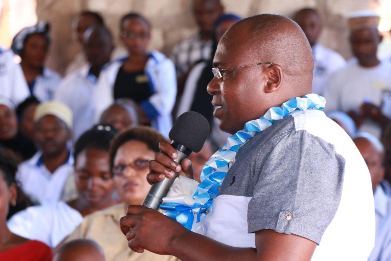Mr Francis Gwama Mwatsahu from Kwale County's Executive committee spoke at the anniversary.