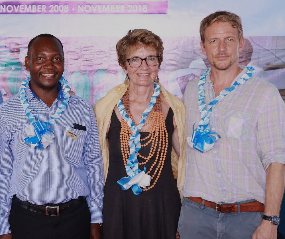 CEO Harrison Kaingu with trustees Louise Ankarcrona and Filip Andersson