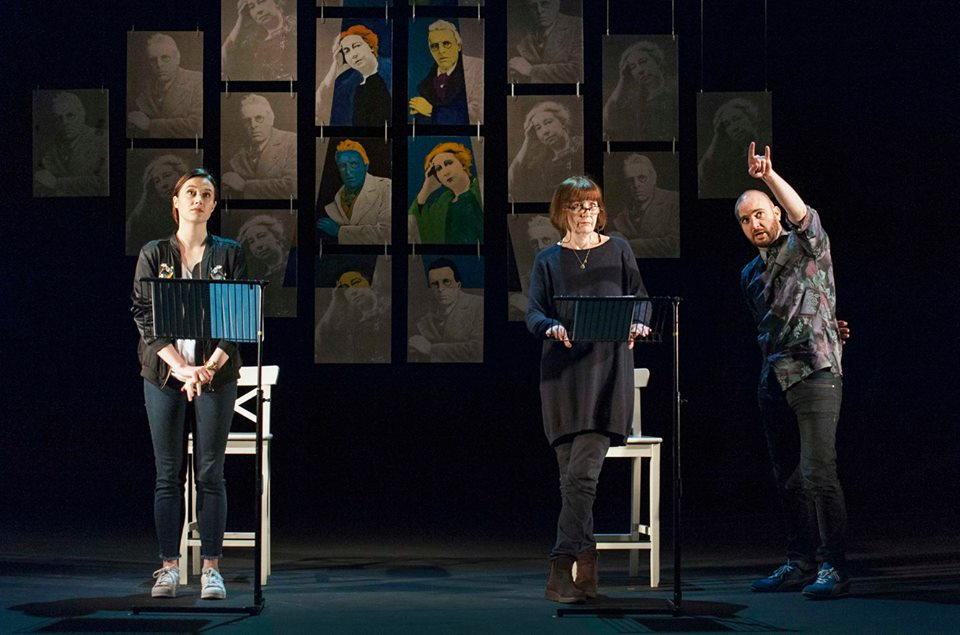 Sarah Madigan and Jane Brennan take notes from director, Ronan Phelan during work on SNAPDRAGON during Future Tense at the Abbey