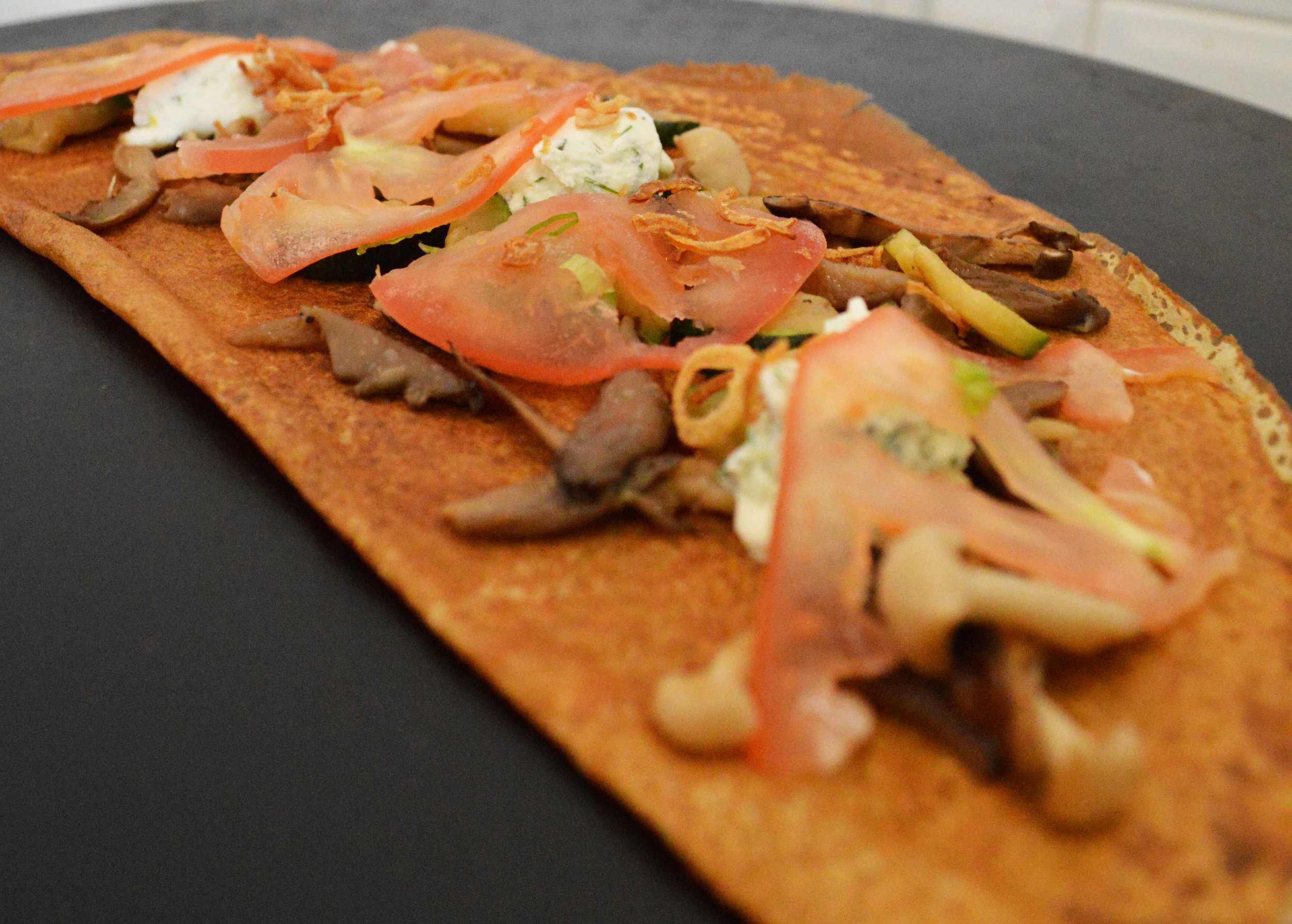 Herbed Ricotta, Mushroom, Zucchini Crepe