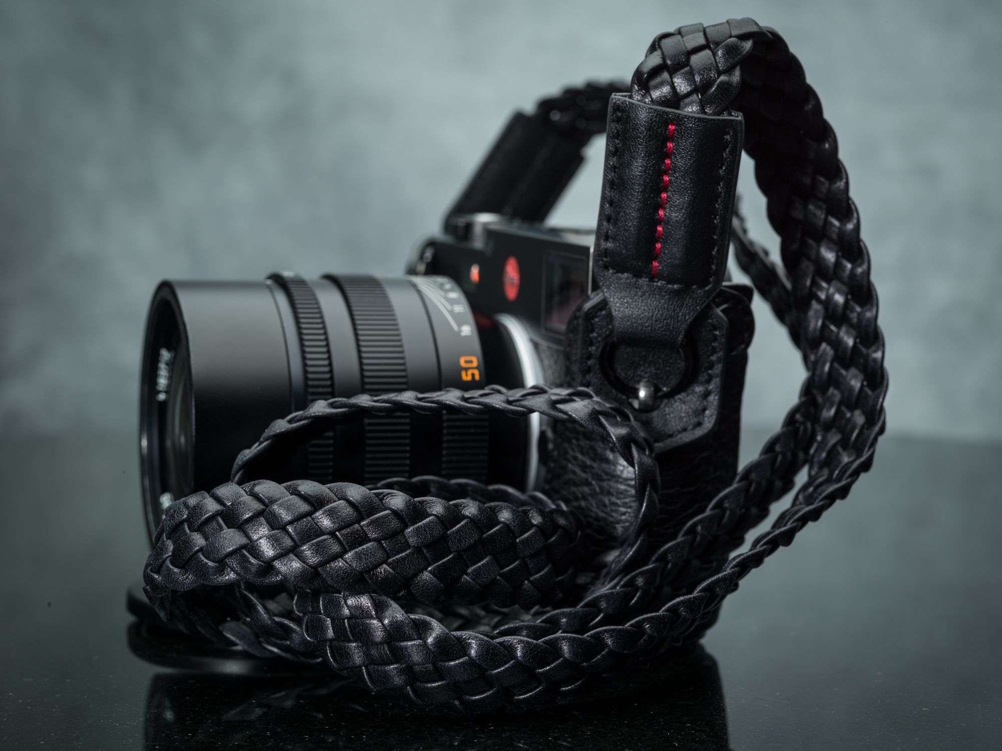 Black Woven Leather Camera strap