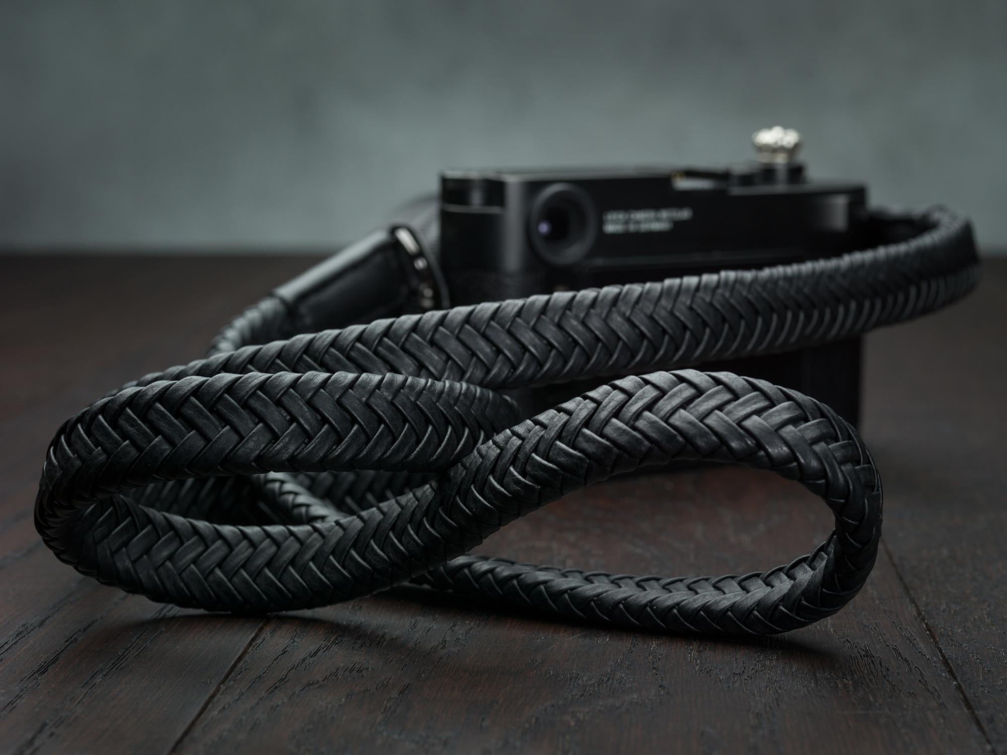 BLACK LEATHER W 25mm NECK SHOULDER STRAP FOR BRIDGE CAMERA *V218**