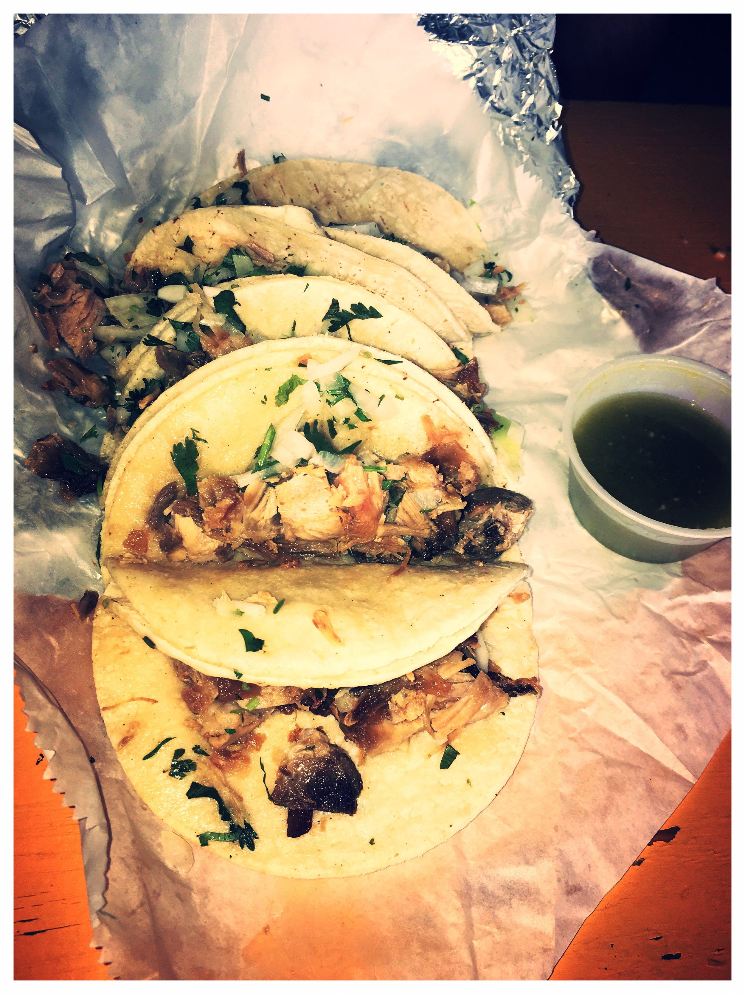 - Our Carnitas tacos... Yum. Yum.Tacos/Burritos/Tortas and Quesadillas are all available using 18 different meat options. See menu image below.