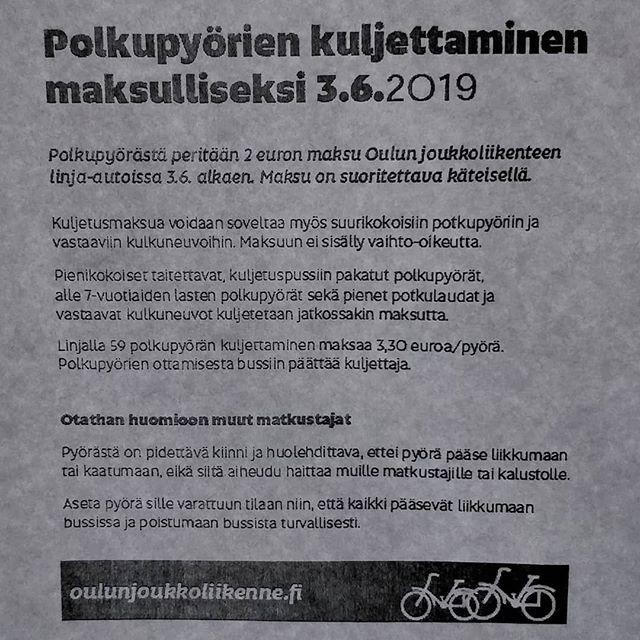 Tämmöistä infoa tällä kertaa #oulunnuortenhuuto #oulunjoukkoliikenne #oulu #pyöräilykaupunki