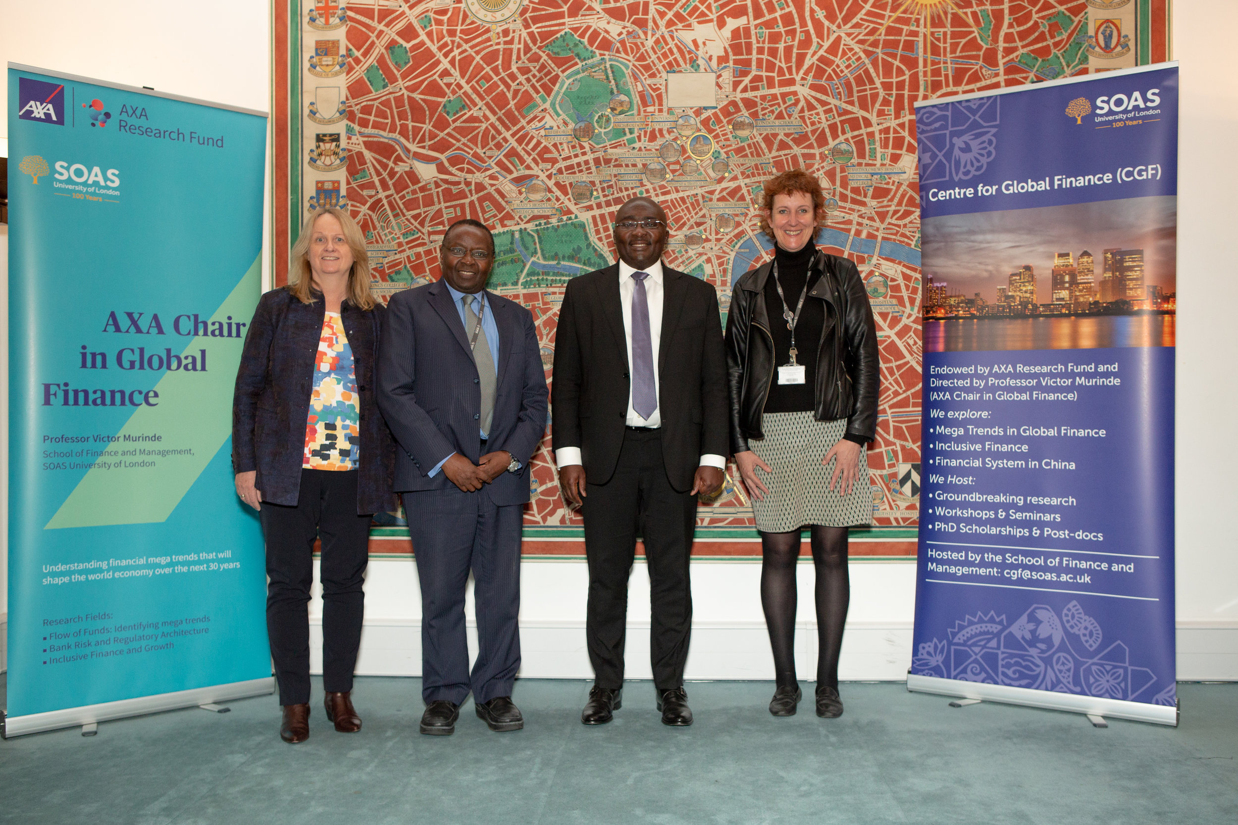 (left to right): Prof Christine Oughton, Prof Victor Murinde, H.E. Dr Mahamudu Bawumia, Prof Andrea Cornwall