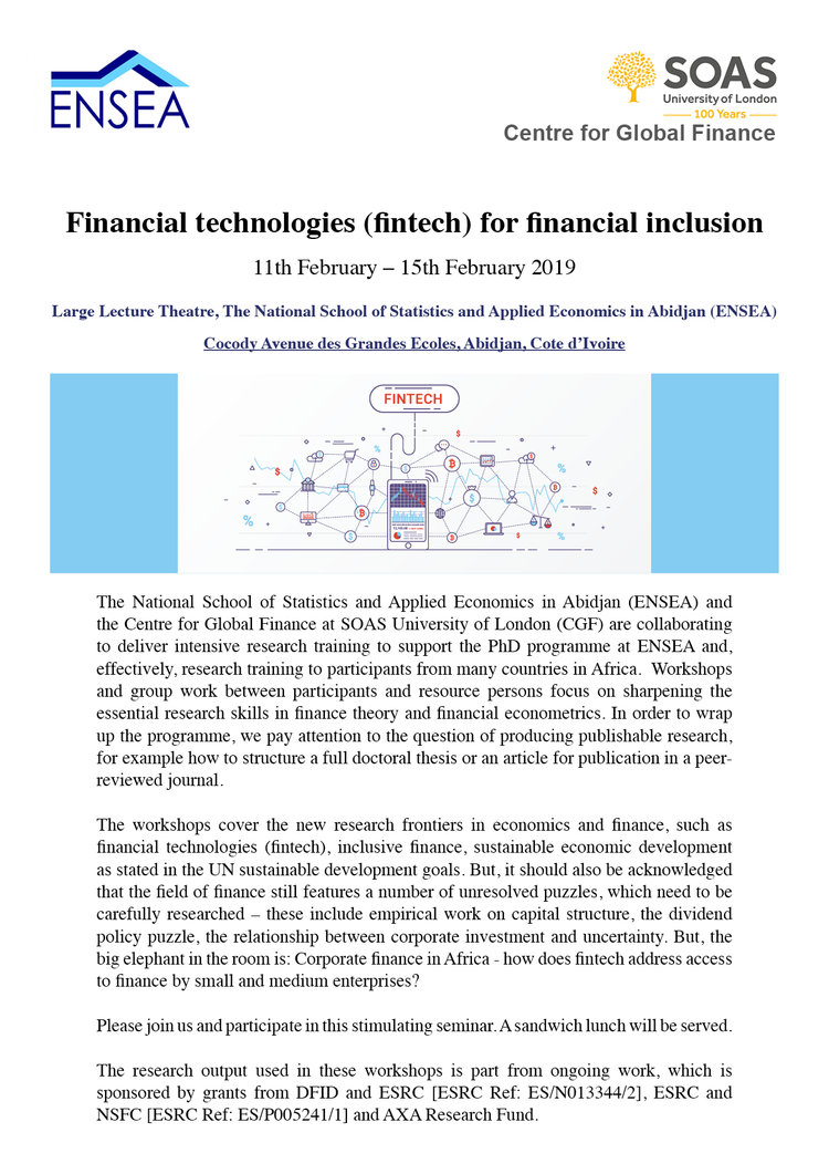 Financial technologies (fintech) for financial inclusion — Centre