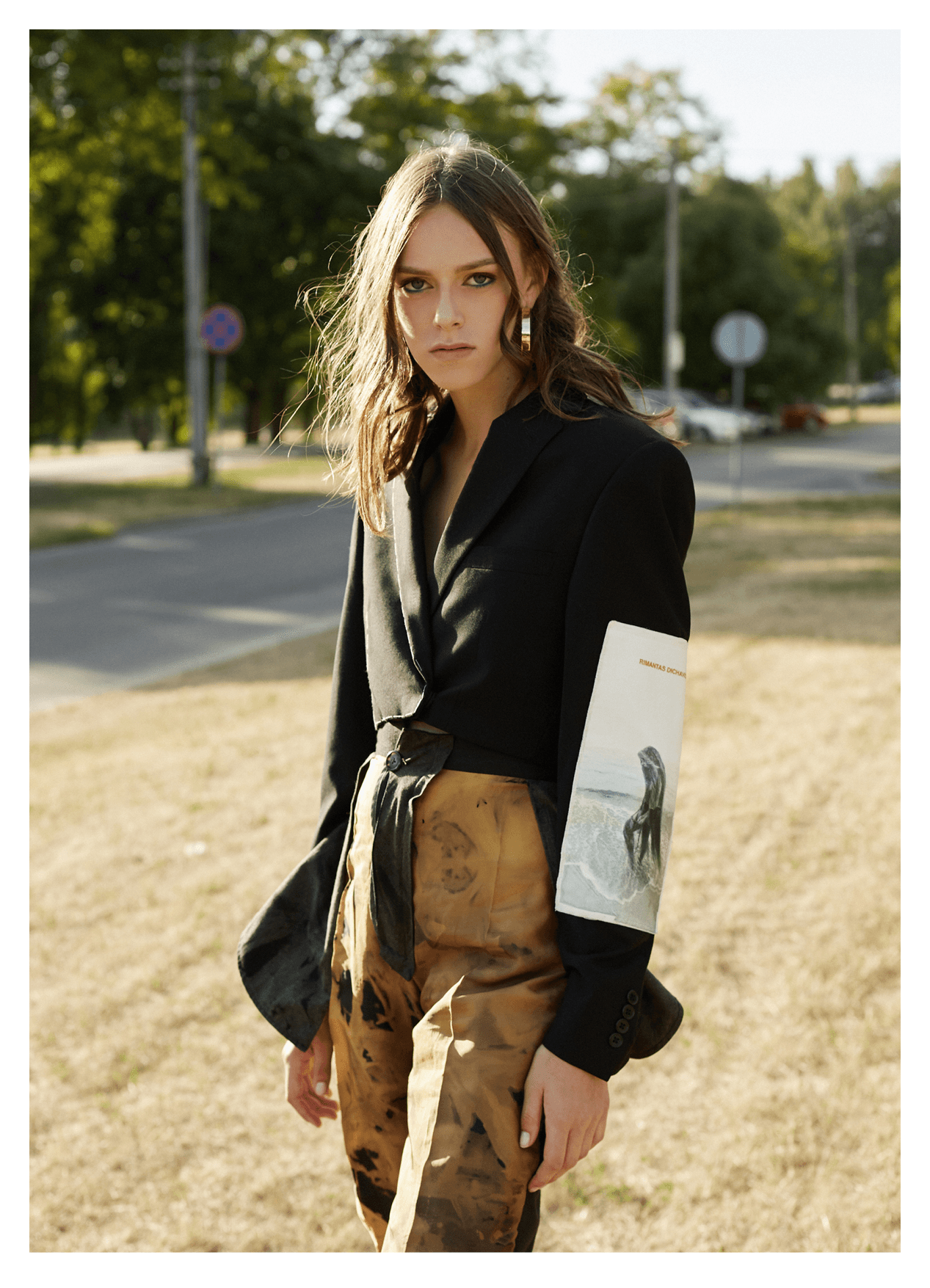 jacket, trousers URTE KATILIUTE; earrings H&M