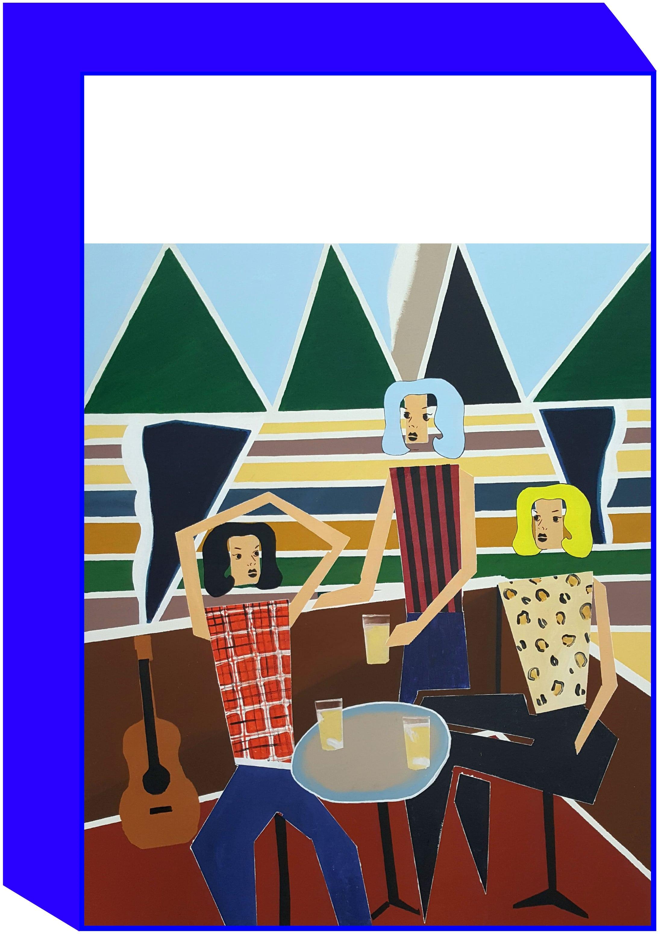 """Backstage"" by Michel Castaignet, 2018. 150x180cm, acrylic on canvas."