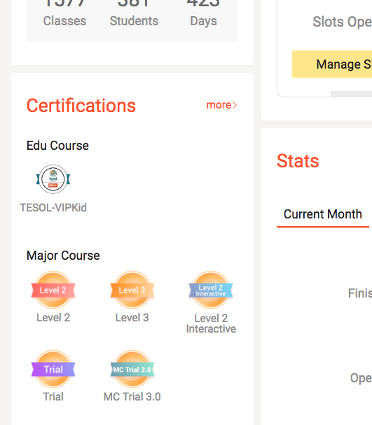 Your certifications will look like this in your portal.