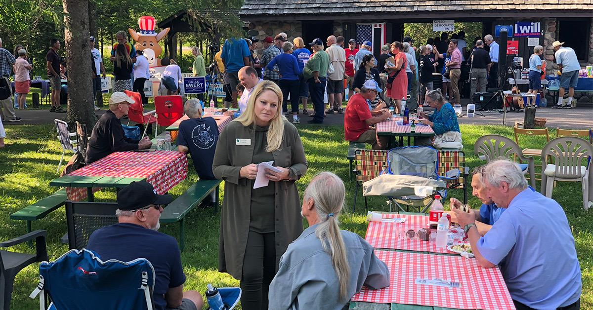 Cynthia Talking to Voters in Sawyer.jpeg