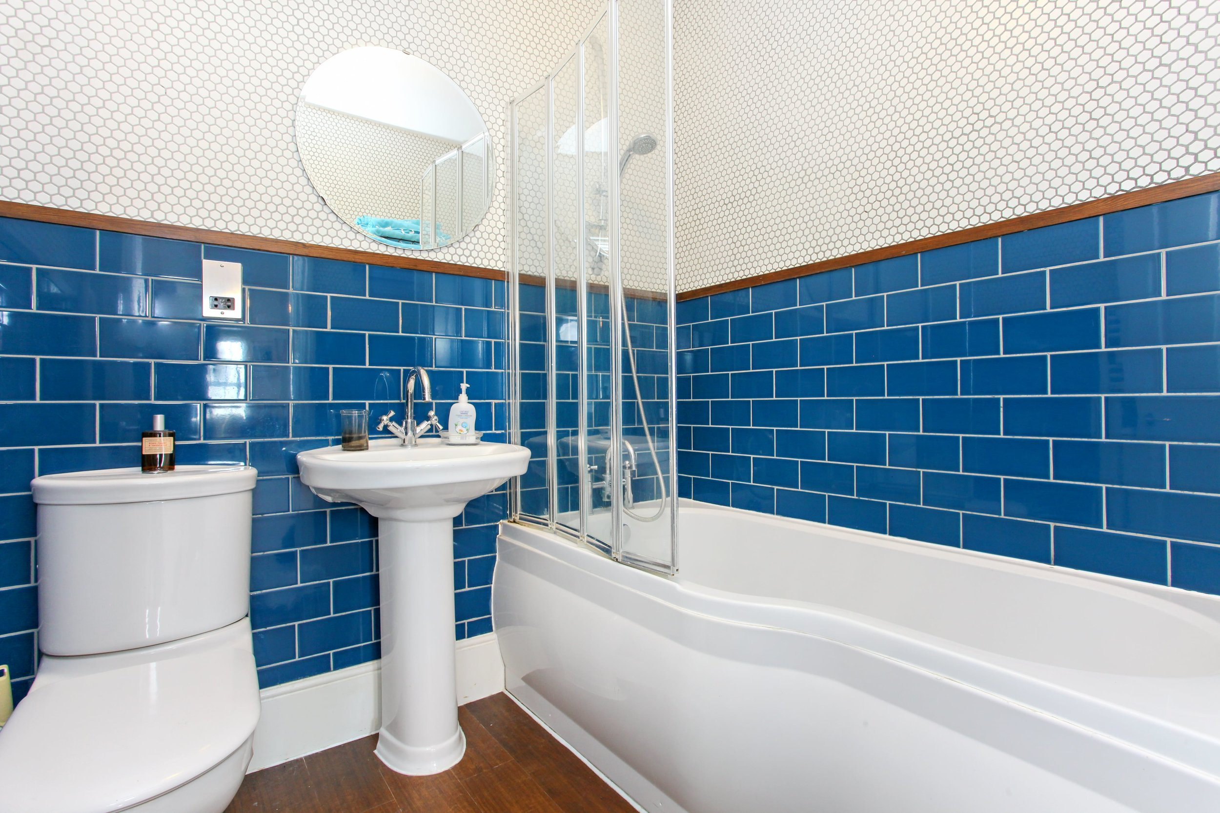 Master Bathroom with  Prismatic Johnson Tiles.