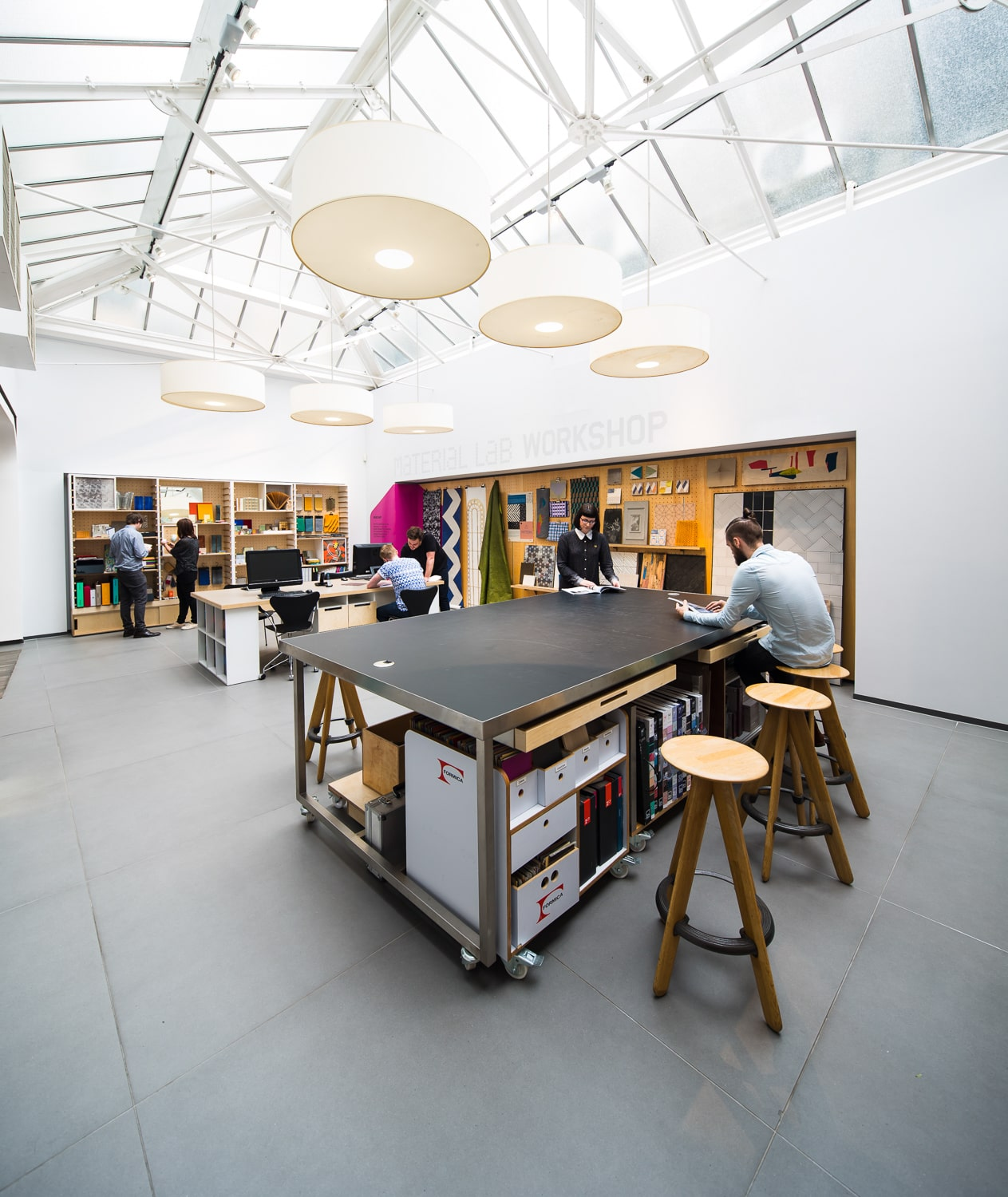 Material Lab   Studio refit of the one of London's leading material resource including the entire lower ground floor and central display island with versatile modular system.