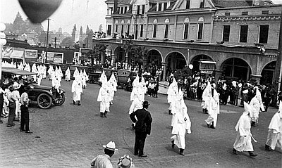 Oregon's Ku Klux Klan marching in Ashland. By 1923, there were 60 chapters in Oregon boasting 35,000 members.  Photo  c ourtesy Oregon Encyclopedia