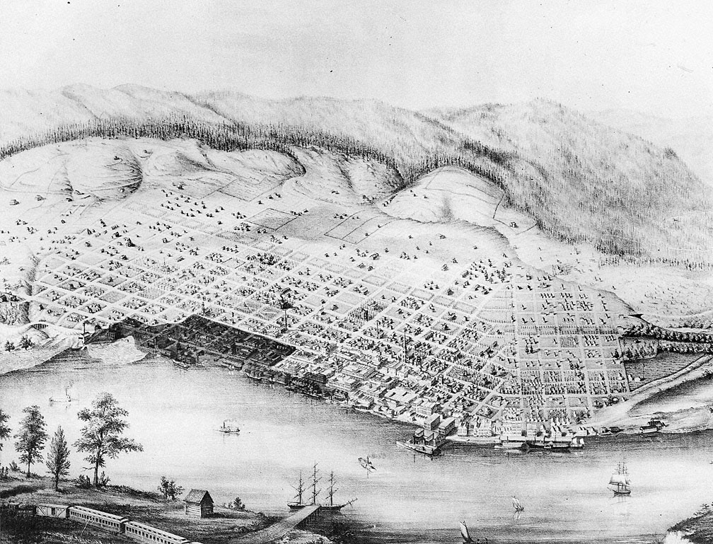 Note the charred area by the waterfront.  Courtesy Oregon Historical Society.
