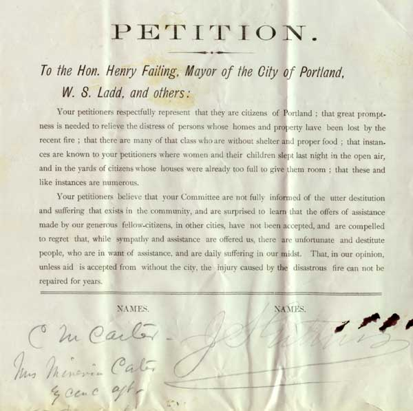 The petition urging Mayor Failing to accept outside help for its destitute citizens. Courtesy   Portland City Archives  .