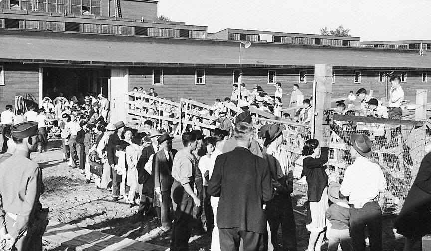 Nearly 4000 Japanese American residents were cramped into the cramped  Portland Assembly Center , hastily constructed on the site of the Pacific International Livestock Exposition. Most were sent to the Minidoka Internment camp in Idaho, where they were surrounded by barbed wire, watchtowers and military guards armed with machine guns. Others were sent to camps in California and Wyoming.  Photo courtesy Oregon History Project