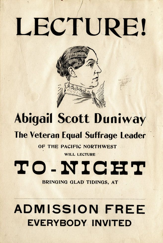 Duniway was a forceful orator who used a touch of sarcasm and humor. According to asduniway.org, as an impromptu speaker, she was unparalleled.