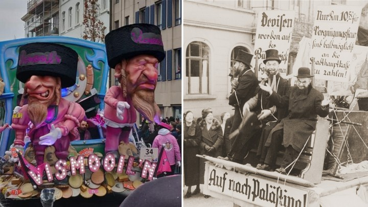 A recent Belgian carnival float (l) is eerily reminiscent of one from 1936 Marburg, Germany. From an Eliot Cohen article in  The Atlantic Monthly  entitled   Socially Acceptable Anti-Semitism   .