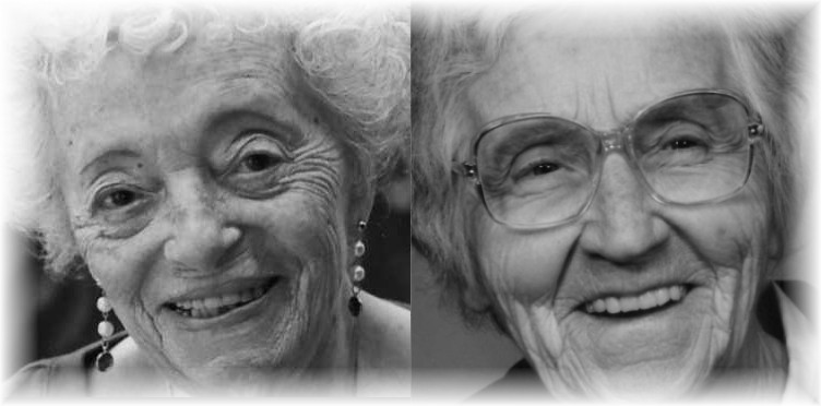 Two irrepressible spirits: my mother, Ella Lennett (left) and my mother-in-law, Minetta Denny.