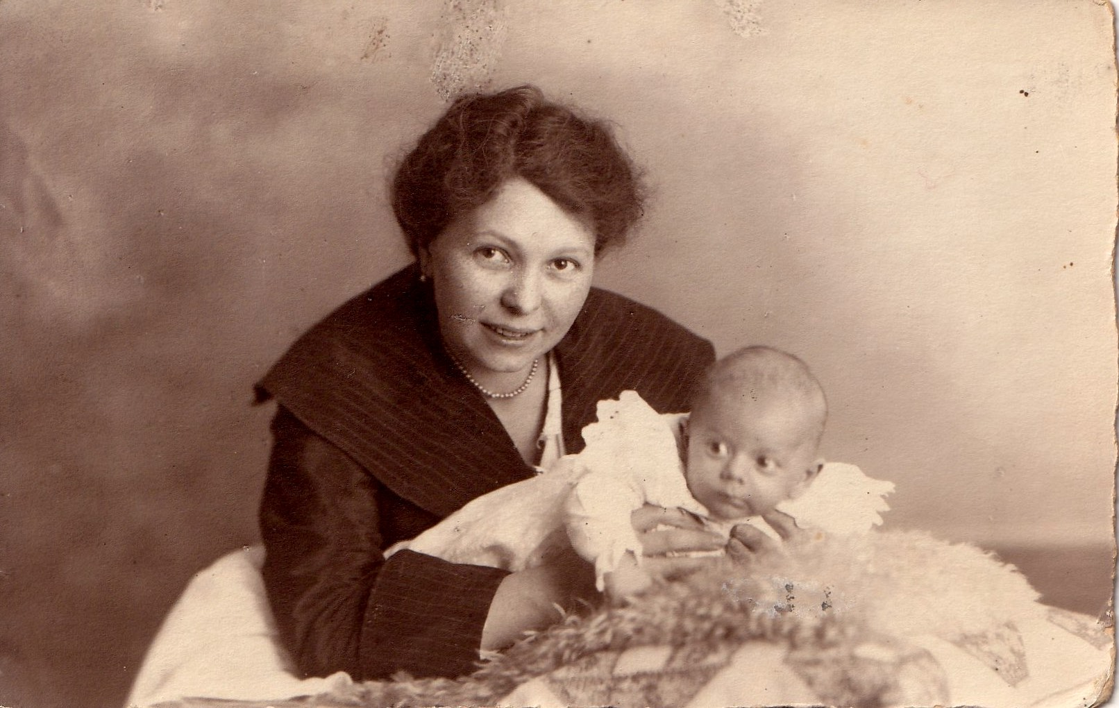 """Mama (my grandmother Gertrud Stern) with her """"oops"""" child, baby Heinz Josef .As an adult, my Uncle Joe looked a lot like Clark Gable."""