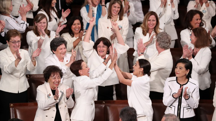 The women of Congress at the 2019 State of the Union address. Courtesy of   The Atlantic