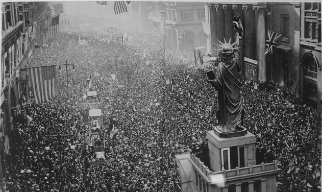 This monstrous victory celebration took place on Broad Street in Philadelphia after Armistice was declared.  Photo courtesy of U.S. National Archives and Records Administration, Public Domain, https://commons.wikimedia.org/w/index.php?curid=15999048