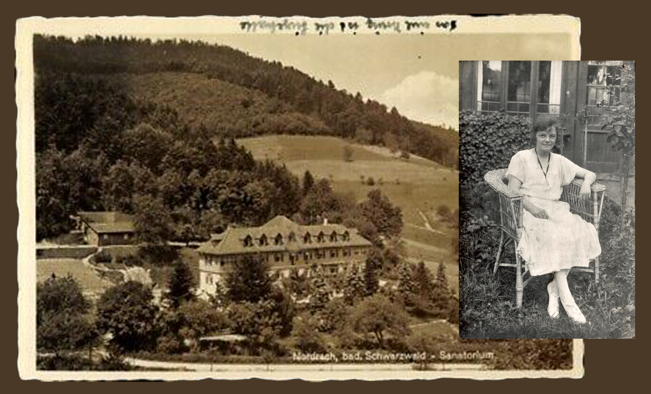 The postcard depicts the Nordrach Sanatorium. Elsa is seated outside her room, breathing in the fresh air of the Black Forest.