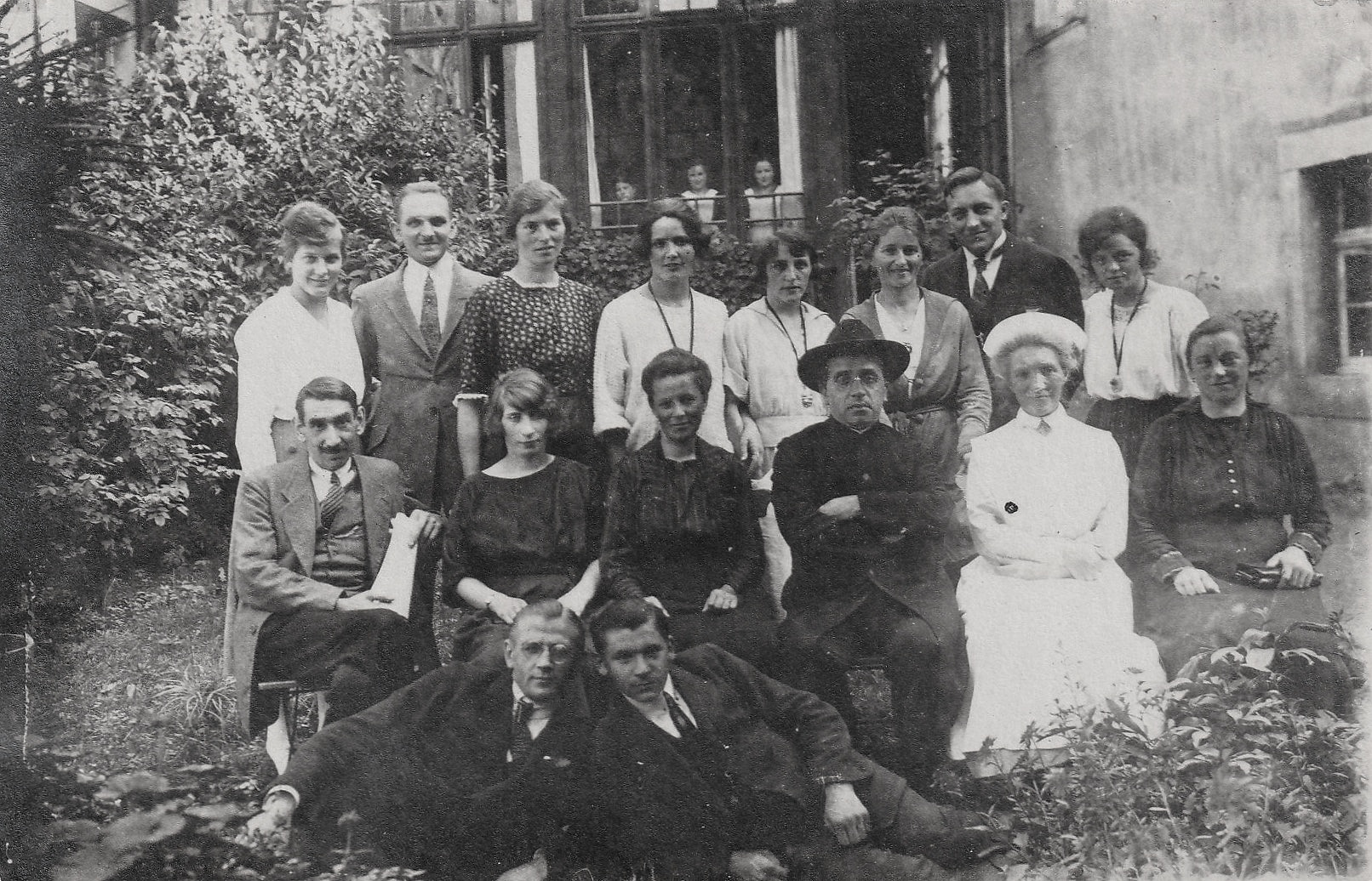 Staff and patients at the sanatorium. Dr. Otto Walther and his wife, Dr. Hope Adams, the first female doctor in Germany, founded the hospital in the late 19th century. My mother is on the right of the top row.