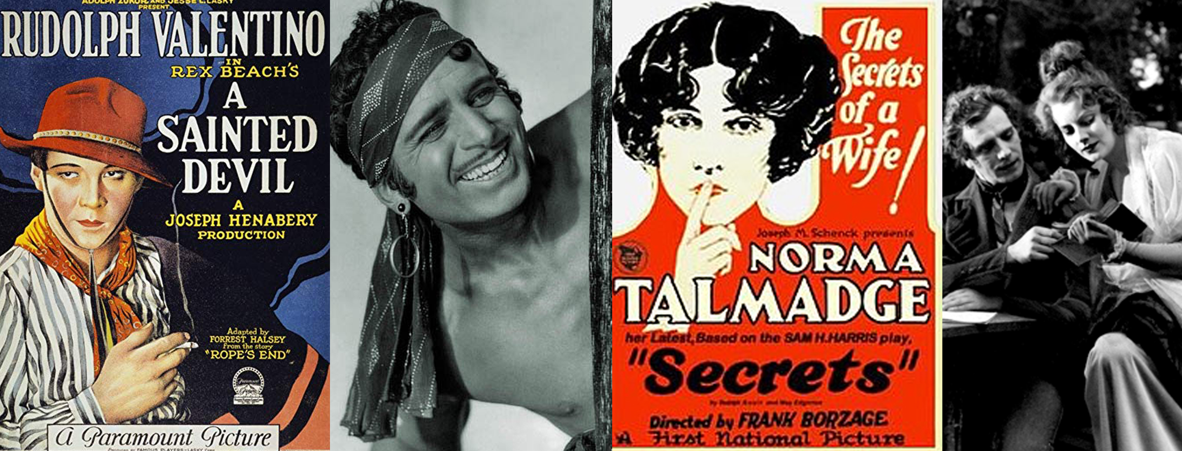 Here are some 1924 releases with a few of Mom's favorite stars. Left to right: Rudy Valentino in   A Sainted Devil  , swashbuckling Douglas Fairbanks in   The Thief of Bagdad,   glamorous Norma Talmadge in   Secrets  , and a young Greta Garbo in the Swedish film,   Gösta Berlings Saga.