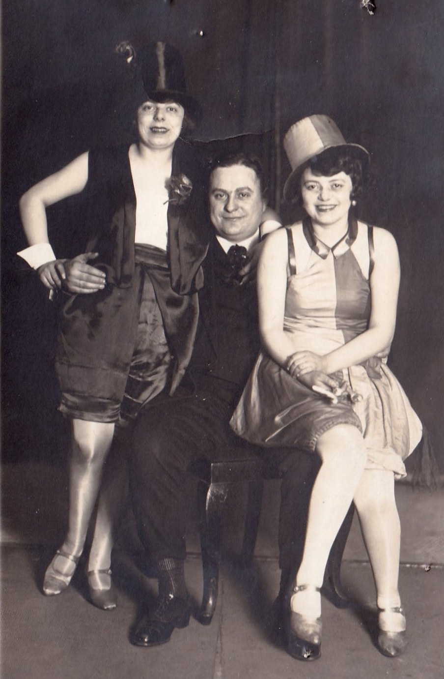 """1927  Left to right :  sister Erika, friend Hermann, and my mom, Elsa.  Germans often celebrate at a carnival called  Fasching , originally a Roman Catholic Shrovetide tradition dating back to the 13th century. Some sources say the word  Fasching  referred to the """"last call"""" before the 40-day period of Lent and is related to the English word """"fast."""""""