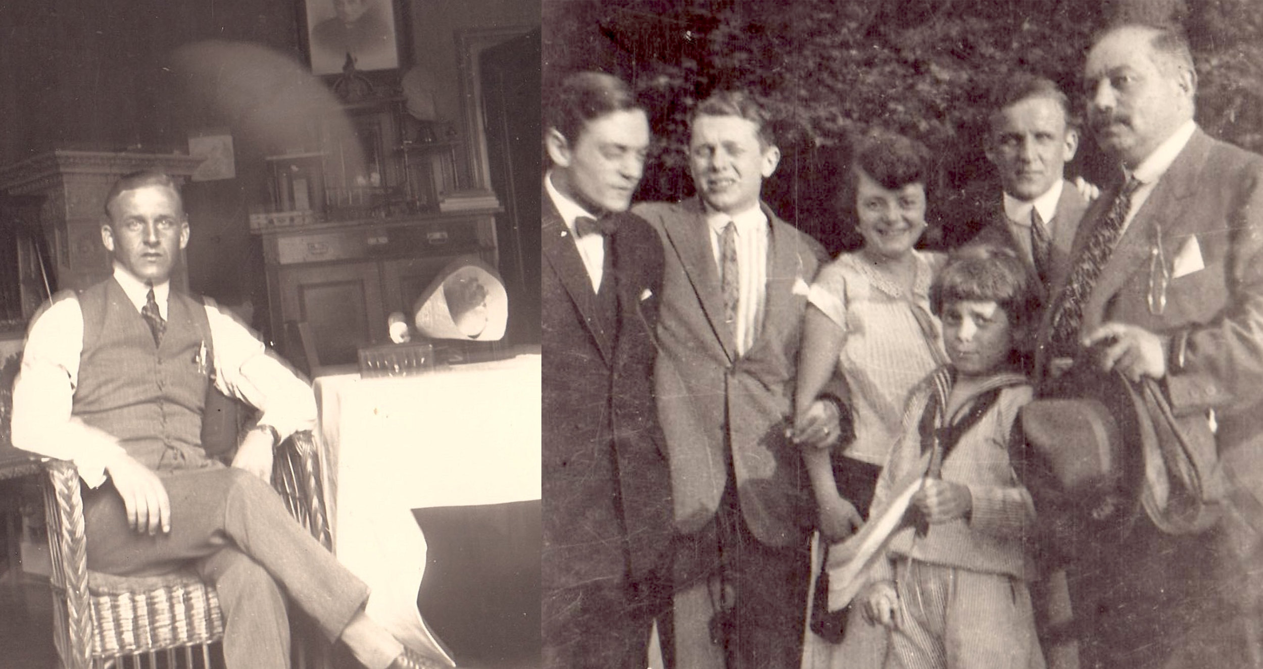 1924 Left:  Elon Andersen, Elsa's Swedish beau, in the Stern apartment.  Right:  the family picture includes brother Günter, brother Gerhart, Elsa, young brother Joe (Buby), Elon, and Papa (Willy).