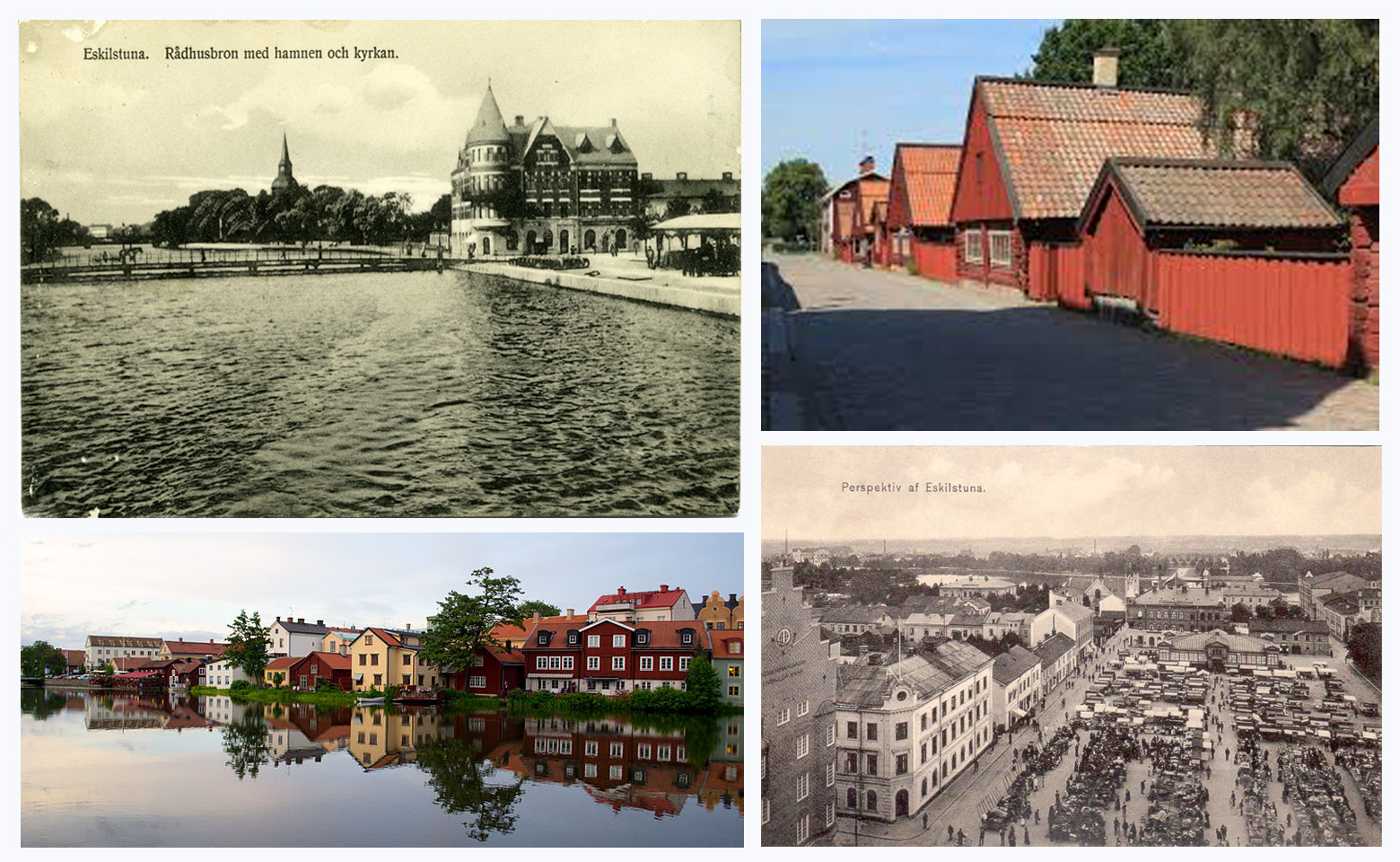 Eskilstuna, Sweden must have charmed Elsa at first, though she grew homesick for her family and the energy of a big city.  Clockwise from top left:  the small   Eskilstunaån River; Rademacher Forges dating back to 1650's; 1920's postcard of Eskilstuna markets; and the oldest street in Eskilstuna today.