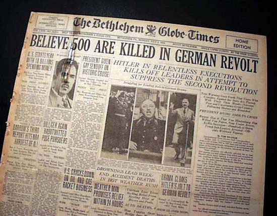 Hitler used the fear of instability to justify the execution of all political rivals.  Newspaper photo courtesy of www.britannica.com