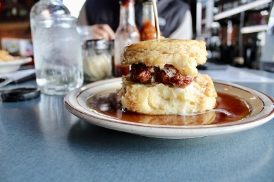 I stole this picture from yelp because I eat my biscuits too fast to take a picture- they are THAT GOOD. Via: Denver biscuit co