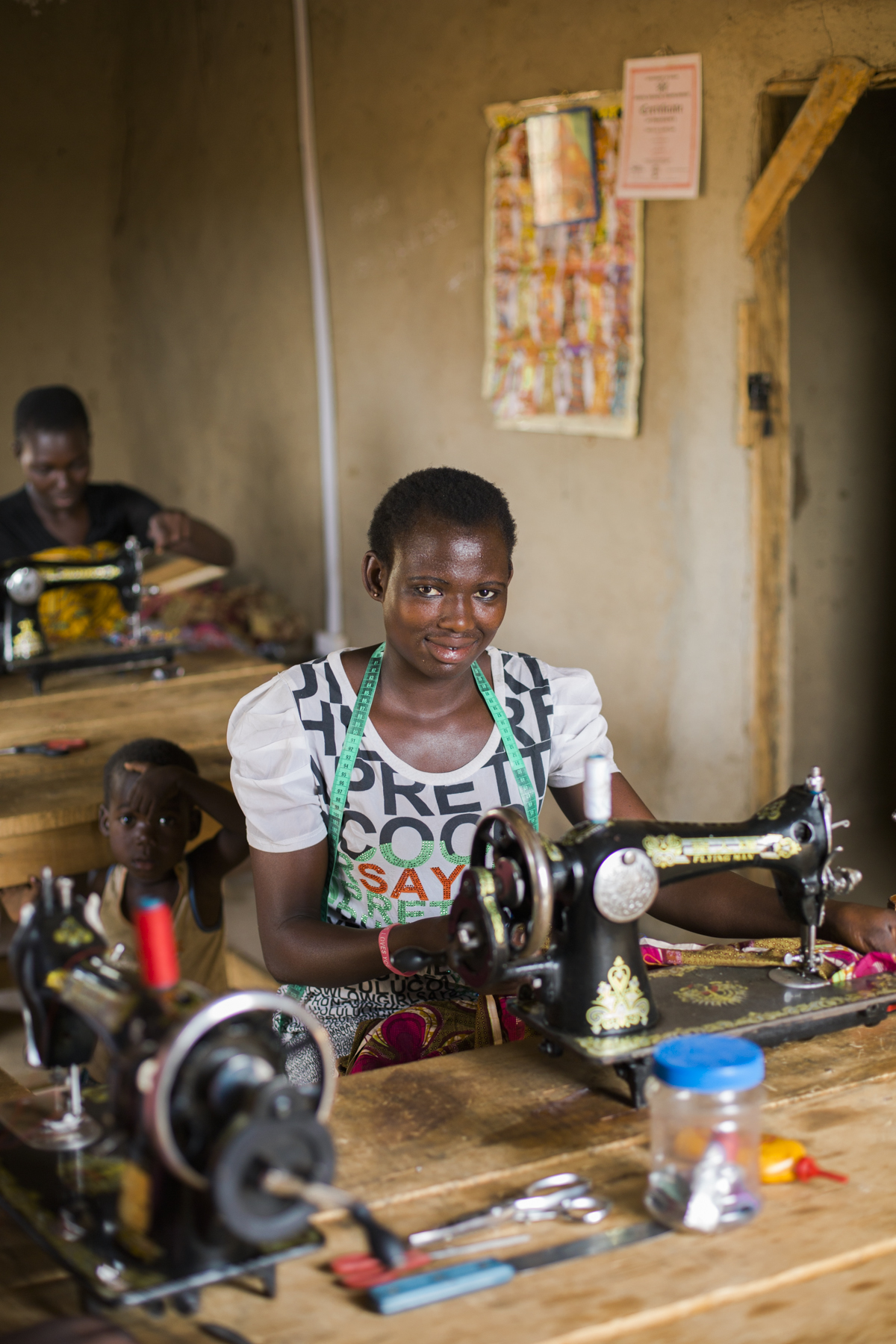 The vocational centre is a space where young women can go to learn skills such as sewing, which will allow them to make their own clothing, including children's school uniforms. The cost of fabric is far less than buying brand new clothing. The vocational centre is always accepting donations for hand powered sewing machines, fabric and other sewing supplies.