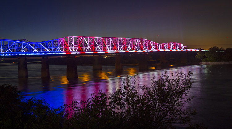 Big river crossing - Since its unveiling in 2016, it has been internationally awarded by both the Athens, Greece-juried American Architecture Award and the Waterfront Center Design Excellence Award. Featured in Fast Company demonstrating the correlation between lighting installations and greater economic development, the bridge's lighting has become a top local tourism attraction with over 300,000 visitors per year.website | facebook