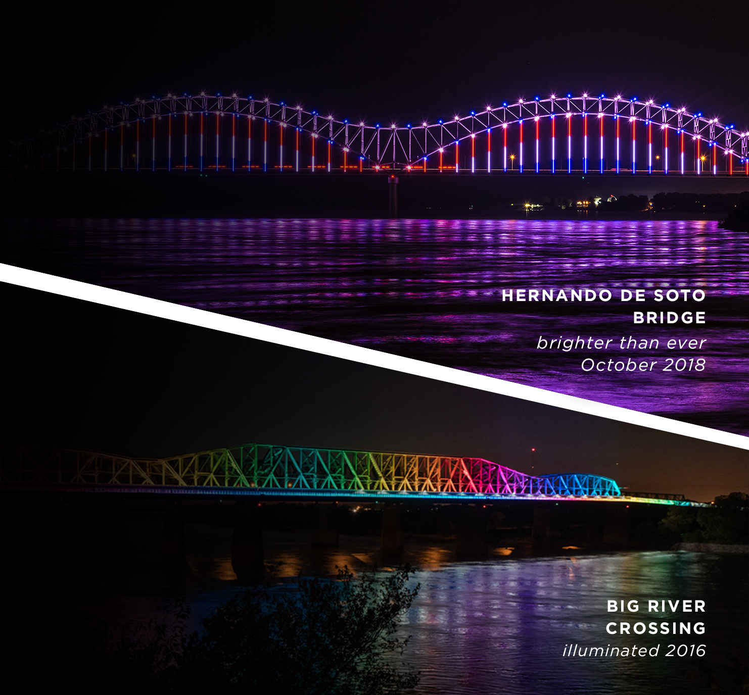 Reflecting the energy of memphis - Join us for the biggest nightly light show on the Mississippi River. Running every hour on the hour from sundown to 11pm.