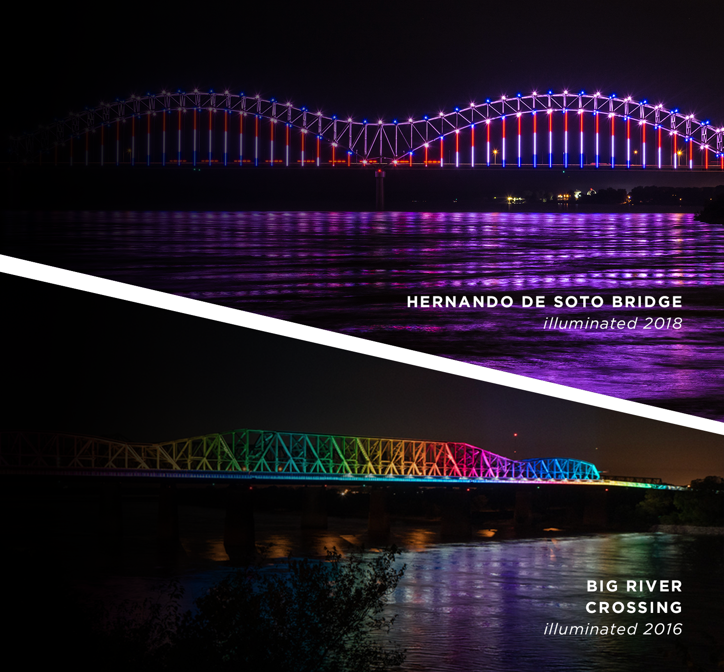 Reflecting the energy of memphis - Join us for the biggest nightly light show on the Mississippi River. Running every hour on the hour from sundown to 10pm finale.