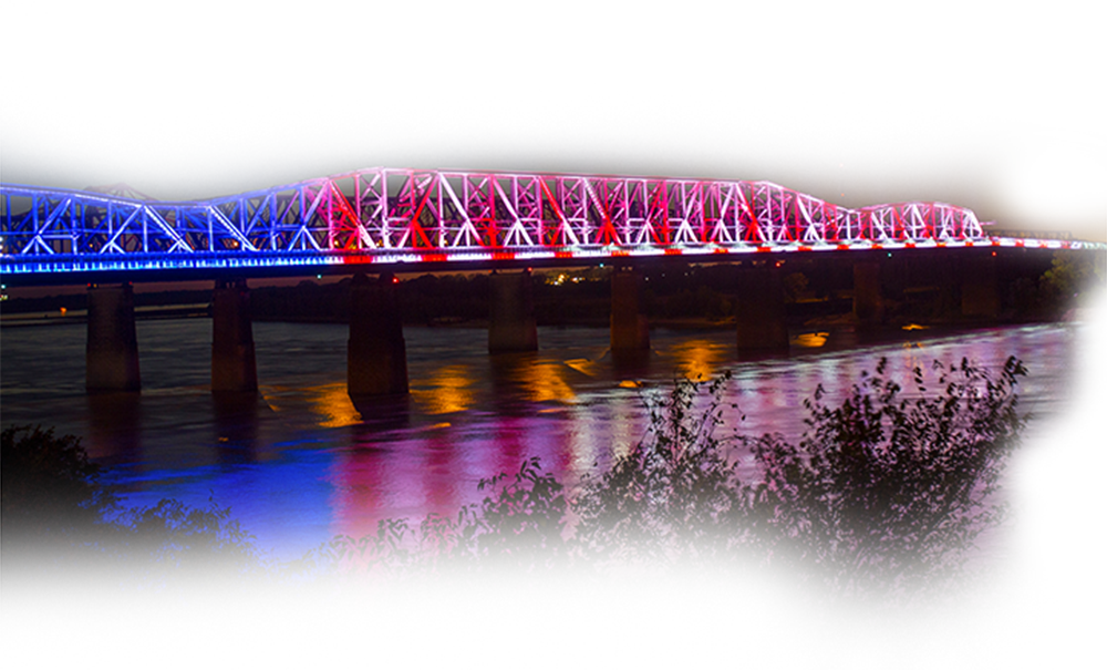 Big River Crossing - Since its unveiling in 2016, it has been internationally awarded by both the Athens, Greece-juried American Architecture Award and the Waterfront Center Design Excellence Award. Featured in Fast Company demonstrating the correlation between lighting installations and greater economic development, the bridge's lighting has become a top local tourism attraction with over 300,000 visitors per year.