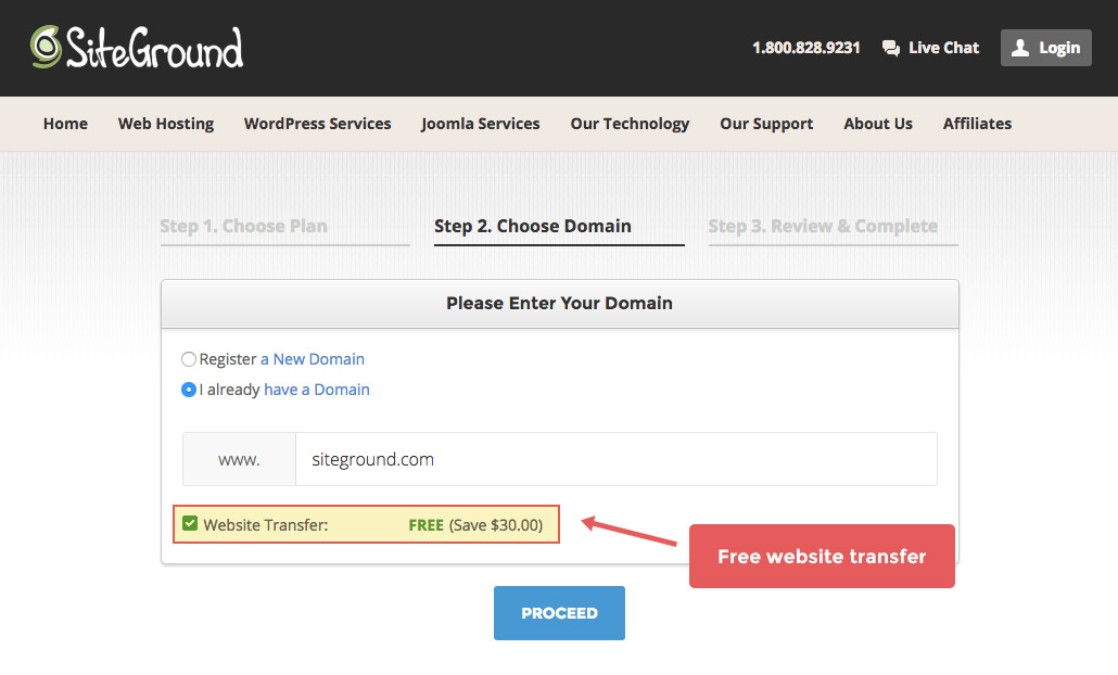 SiteGround hosting setup for transfer of domain.