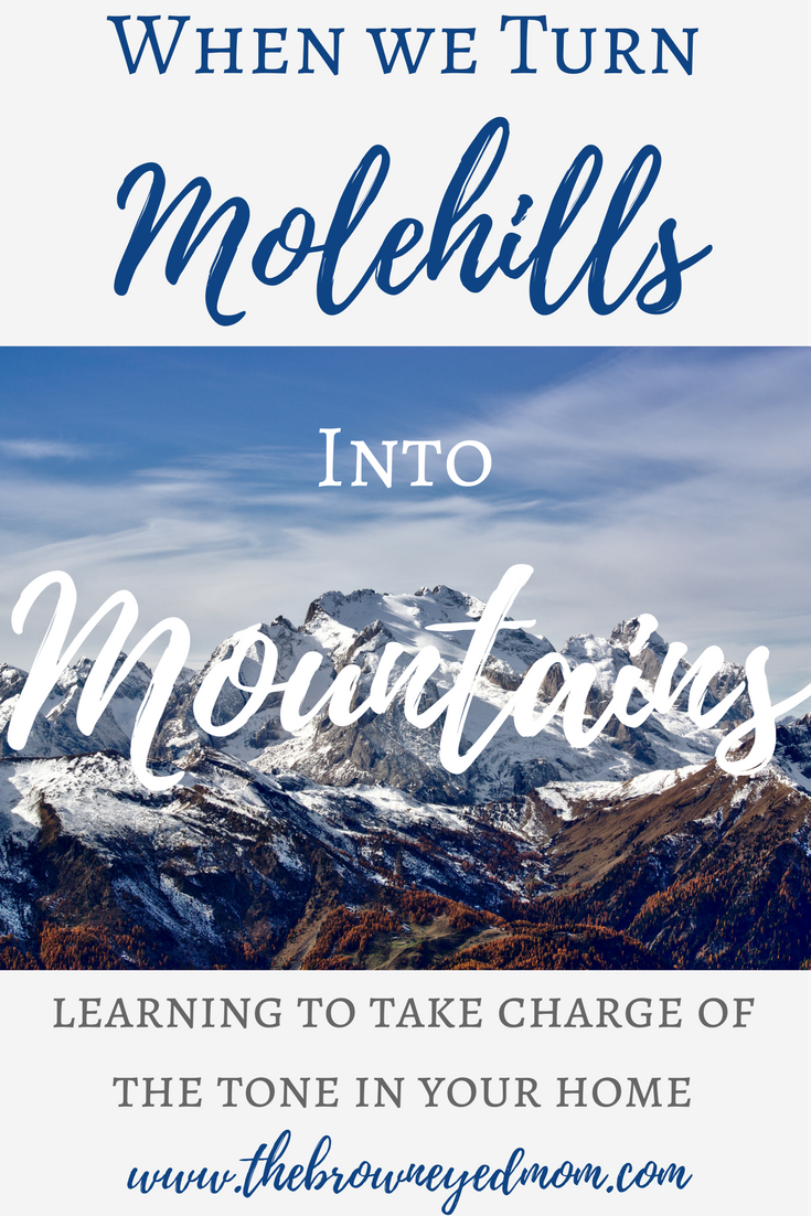 When we turn molehills into mountains. Learning to take charge of the tone in your home.