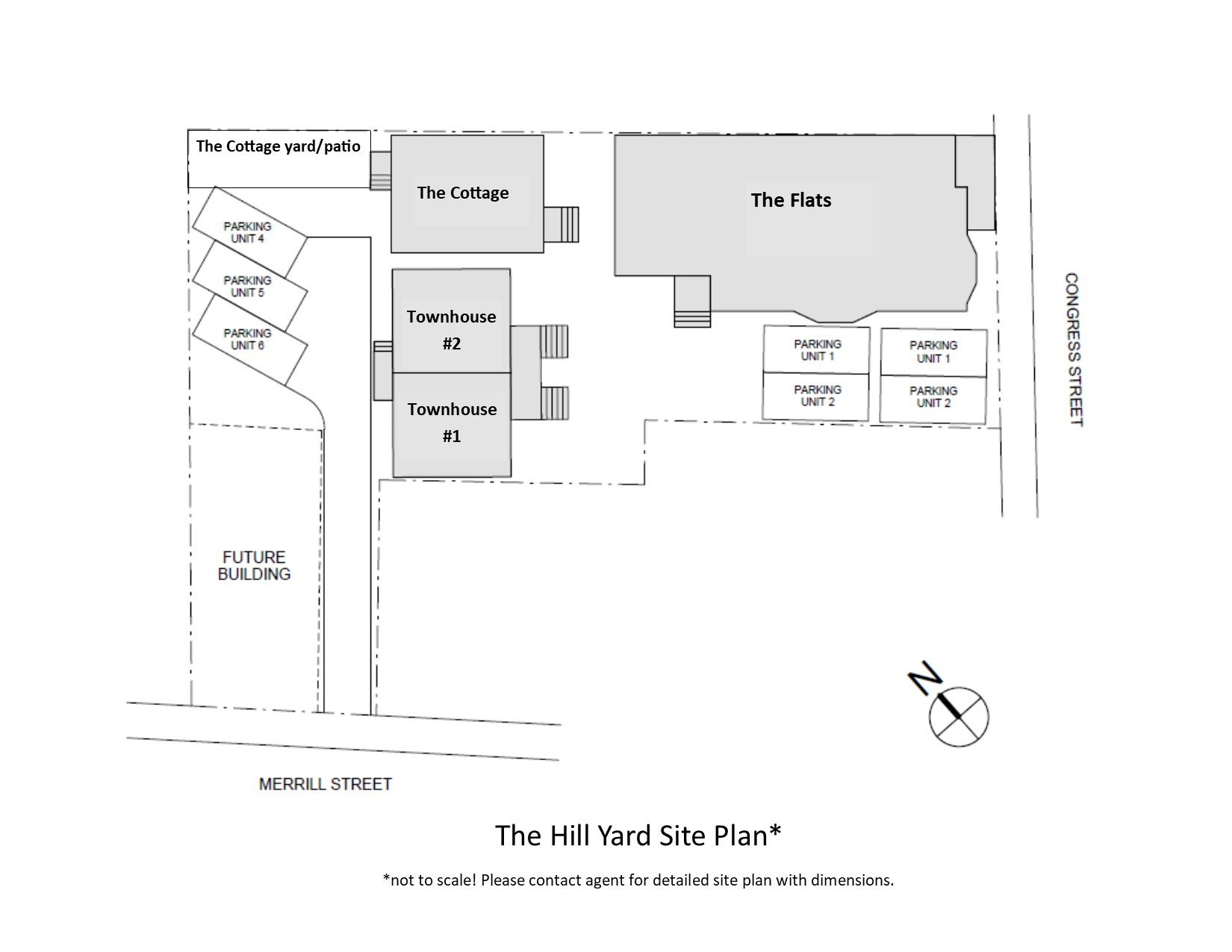 The site plan includes six units, dedicated parking for five of the units and shared green space.