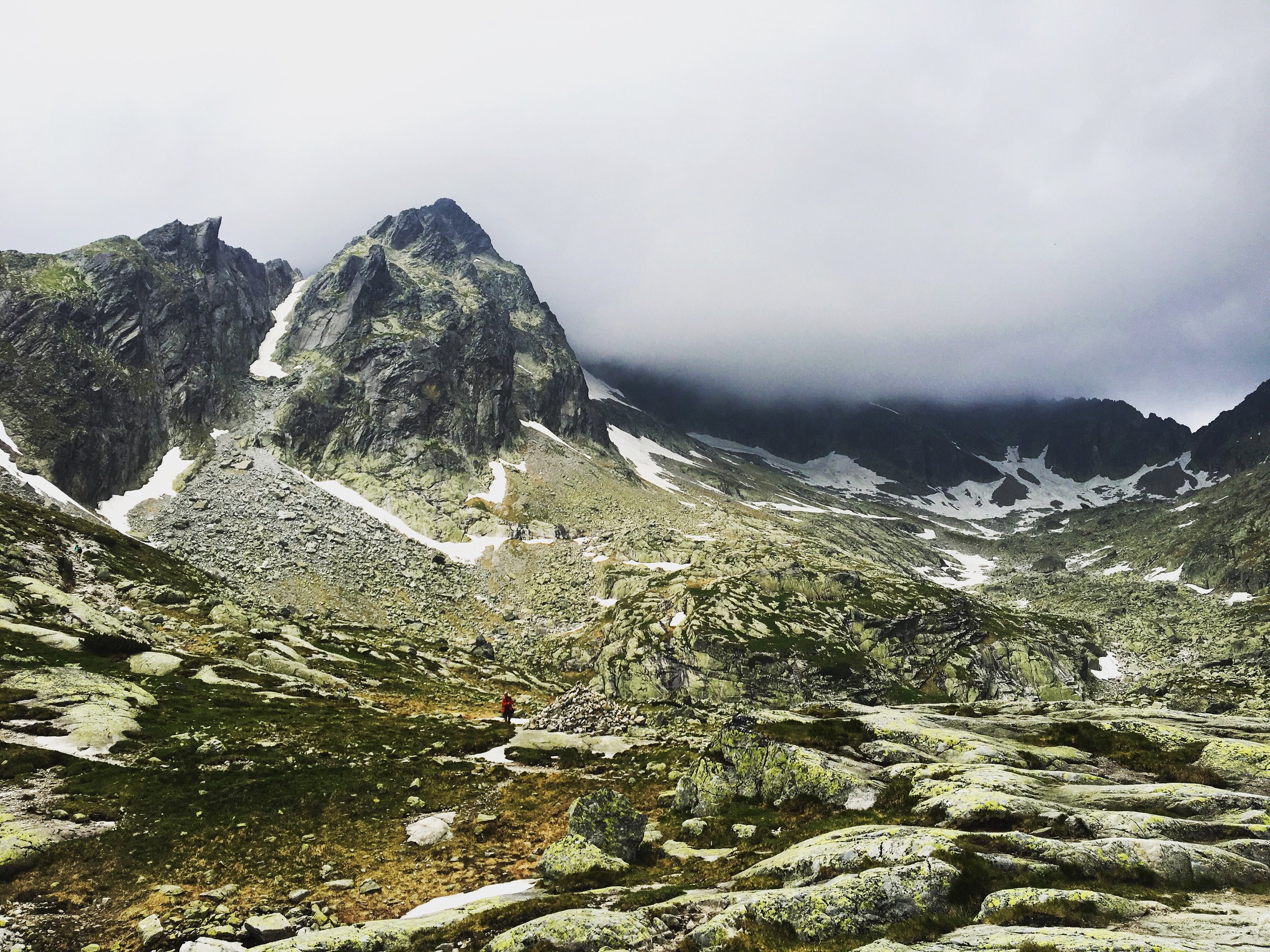 The tormented weather in the High Tatras doesn't discourage some hikers